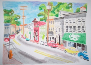 Main St. in the Morning (watercolor pencil)