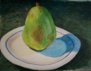 Pear on a Plate (colored pencil)