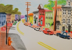 The Sunny Side of the Street (watercolor pencil)